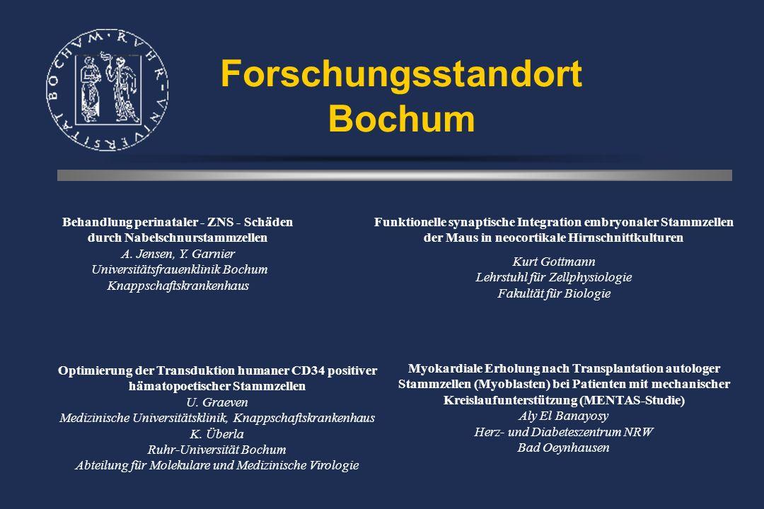Forschungsstandort Bochum Behandlung perinataler - ZNS - Schäden durch Nabelschnurstammzellen A.