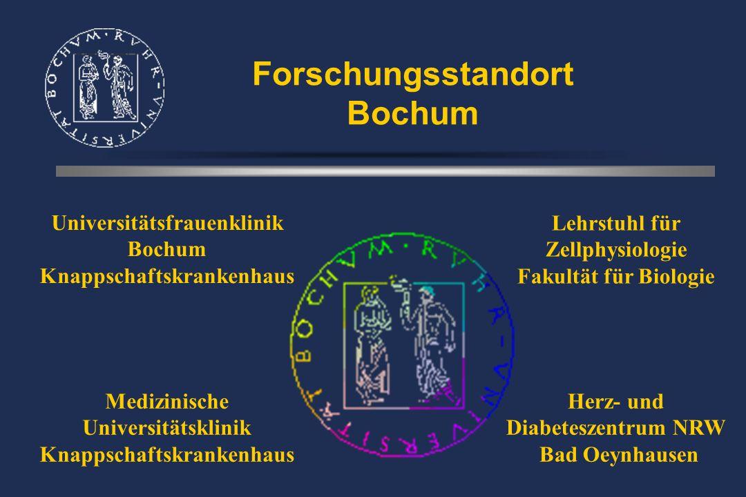 Forschungsstandort Bochum Universitätsfrauenklinik Bochum Knappschaftskrankenhaus Medizinische Universitätsklinik Knappschaftskrankenhaus Herz- und Diabeteszentrum NRW Bad Oeynhausen Lehrstuhl für Zellphysiologie Fakultät für Biologie