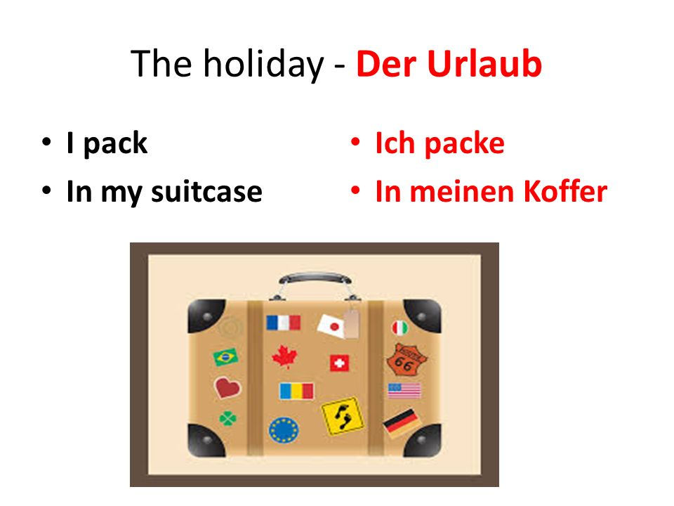 The holiday - Der Urlaub I pack In my suitcase Ich packe In meinen Koffer