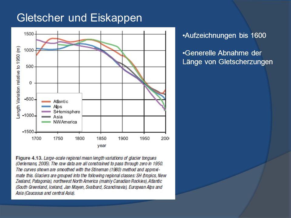 Gletscher und Eiskappen Aufzeichnungen bis 1600 Generelle Abnahme der Länge von Gletscherzungen