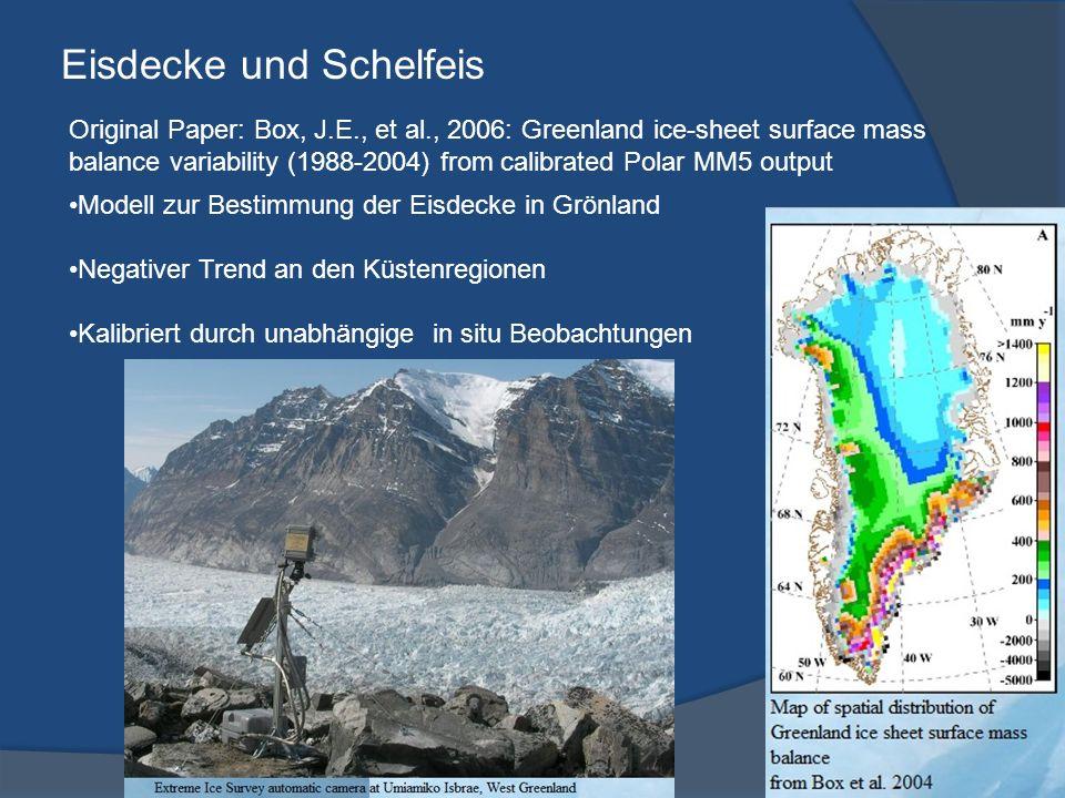 Eisdecke und Schelfeis Original Paper: Box, J.E., et al., 2006: Greenland ice-sheet surface mass balance variability (1988-2004) from calibrated Polar MM5 output Modell zur Bestimmung der Eisdecke in Grönland Negativer Trend an den Küstenregionen Kalibriert durch unabhängige in situ Beobachtungen