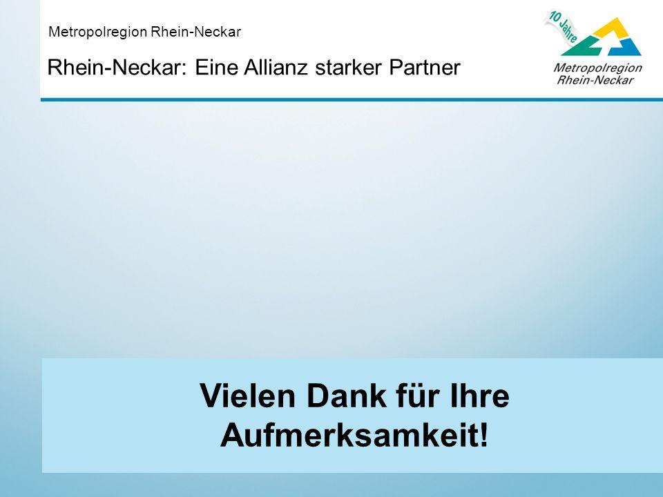 Rhein-Neckar: Eine Allianz starker Partner Metropolregion Rhein-Neckar Vielen Dank für Ihre Aufmerksamkeit!