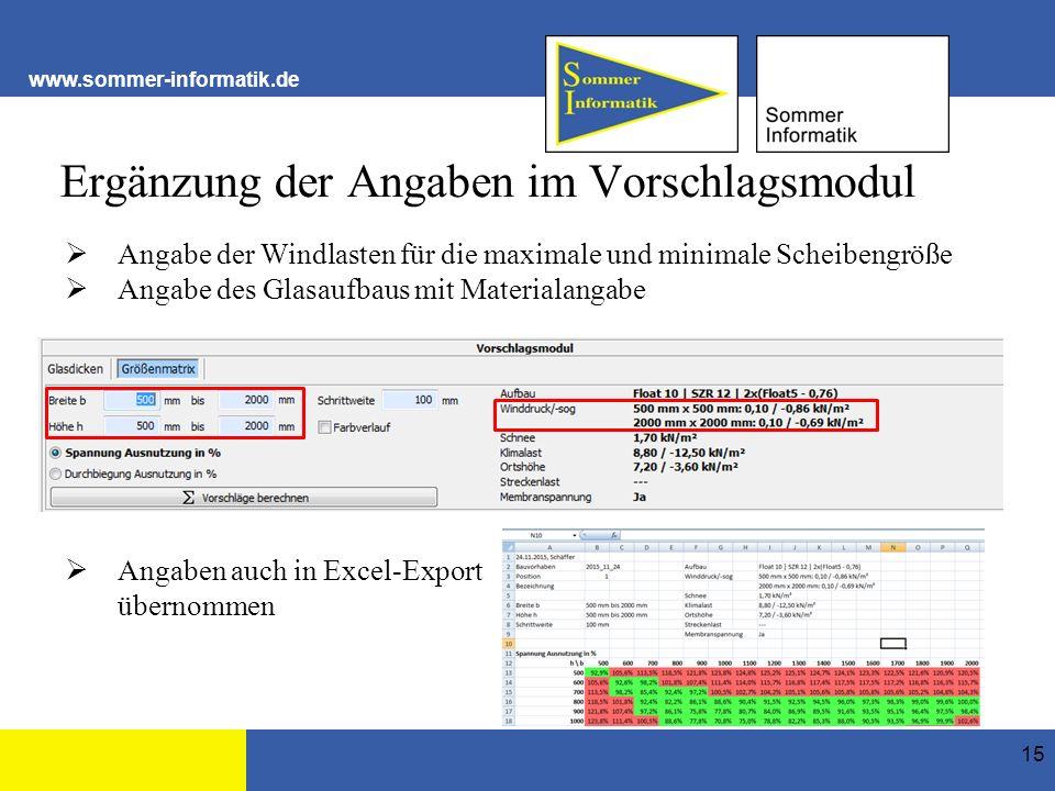 www.sommer-informatik.de Ergänzung der Angaben im Vorschlagsmodul 15  Angabe der Windlasten für die maximale und minimale Scheibengröße  Angabe des Glasaufbaus mit Materialangabe  Angaben auch in Excel-Export übernommen