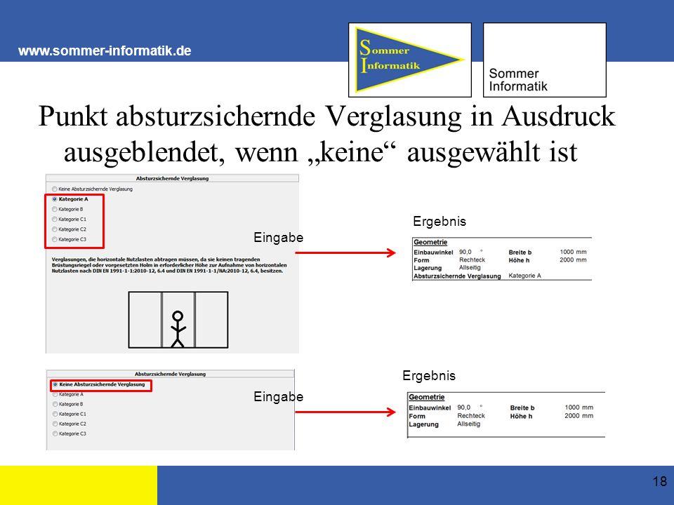 """www.sommer-informatik.de Punkt absturzsichernde Verglasung in Ausdruck ausgeblendet, wenn """"keine ausgewählt ist 18 Ergebnis Eingabe"""