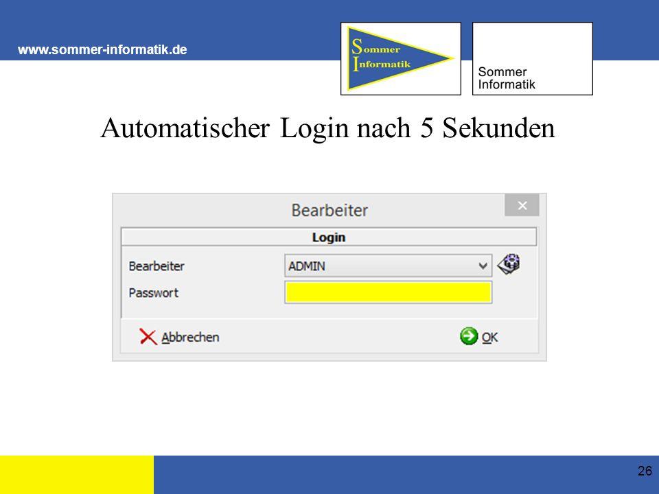 www.sommer-informatik.de Automatischer Login nach 5 Sekunden 26