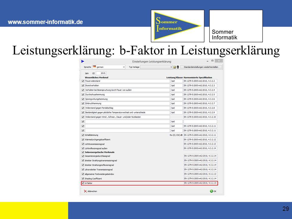 www.sommer-informatik.de Leistungserklärung: b-Faktor in Leistungserklärung 29