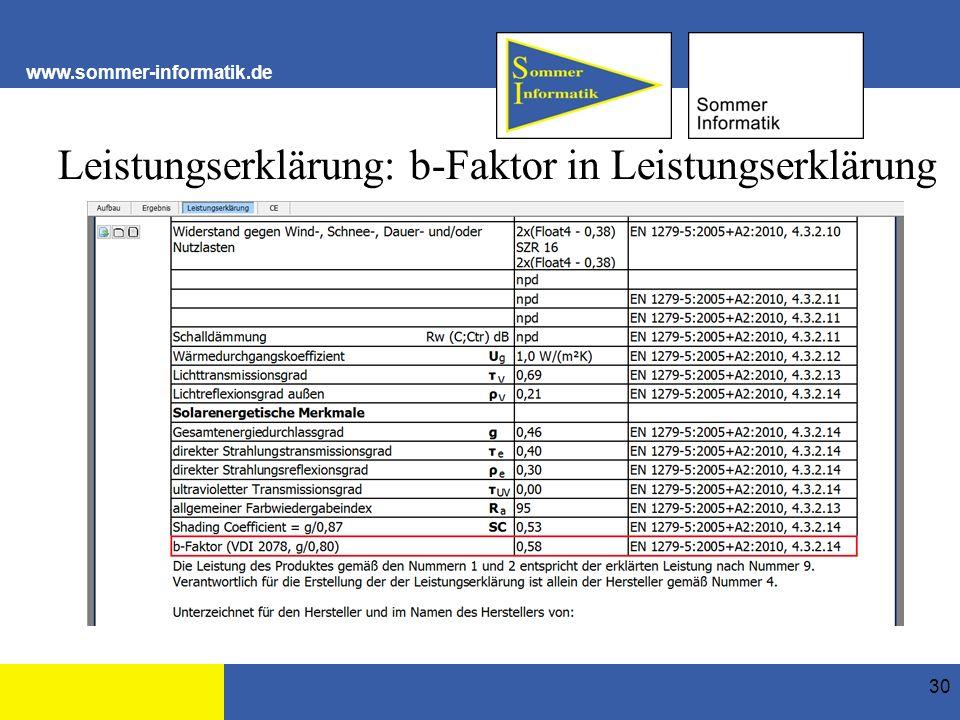www.sommer-informatik.de Leistungserklärung: b-Faktor in Leistungserklärung 30