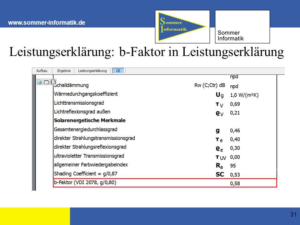 www.sommer-informatik.de Leistungserklärung: b-Faktor in Leistungserklärung 31