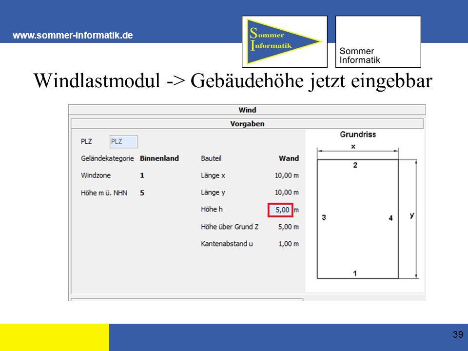 www.sommer-informatik.de Windlastmodul -> Gebäudehöhe jetzt eingebbar 39