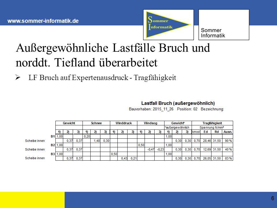 www.sommer-informatik.de Bei nutzerdefinierten Lastfällen Hinweis auf Eingabe der Psi-Werte ergänzt 17 Gamma = 1,35 Gamma = 1,5