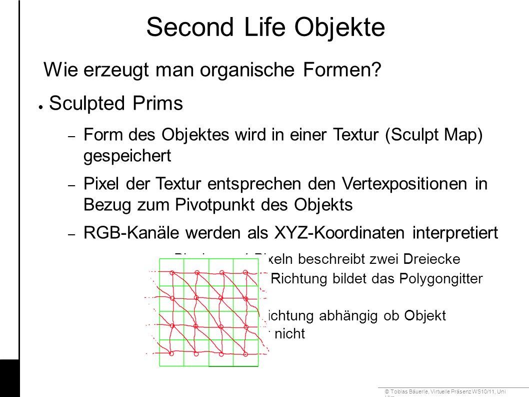 © Tobias Bäuerle, Virtuelle Präsenz WS10/11, Uni Ulm Second Life Objekte Wie erzeugt man organische Formen.