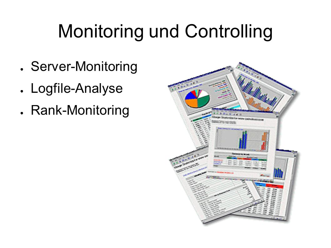 Monitoring und Controlling ● Server-Monitoring ● Logfile-Analyse ● Rank-Monitoring