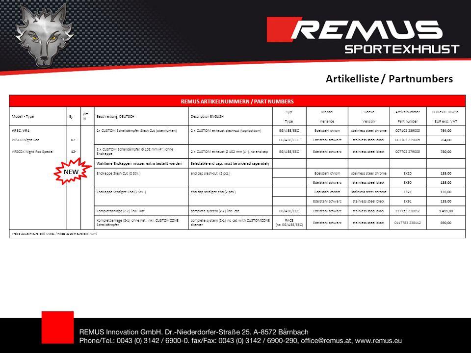 Artikelliste / Partnumbers REMUS ARTIKELNUMMERN / PART NUMBERS Modell - TypeBj.