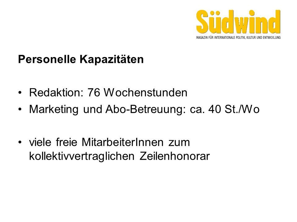 Personelle Kapazitäten Redaktion: 76 Wochenstunden Marketing und Abo-Betreuung: ca. 40 St./Wo viele freie MitarbeiterInnen zum kollektivvertraglichen