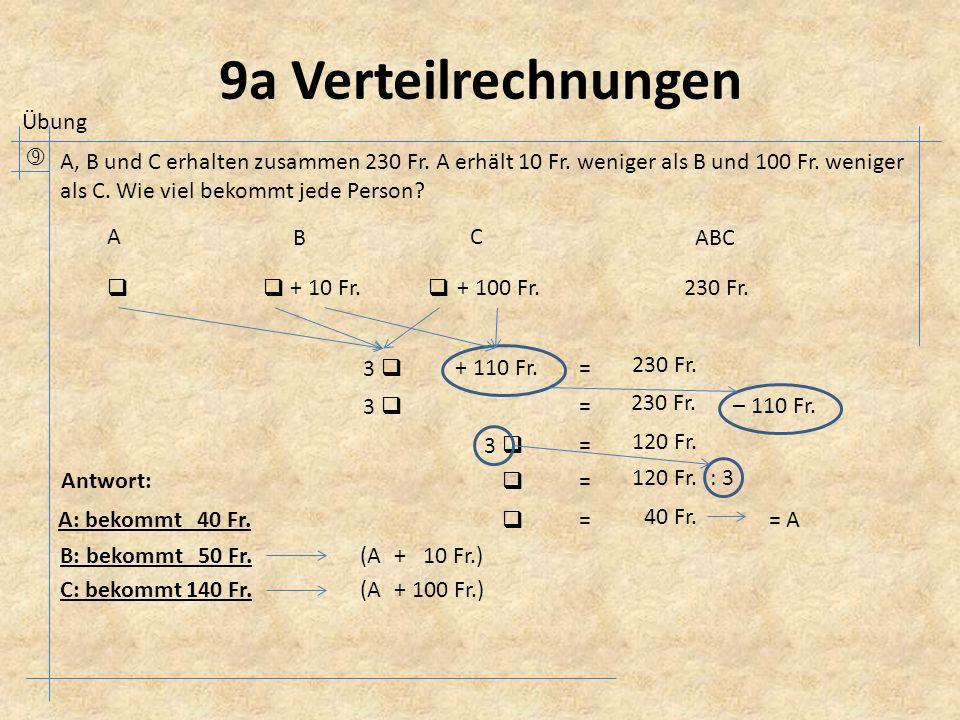 9a Verteilrechnungen  A, B und C erhalten zusammen 230 Fr.