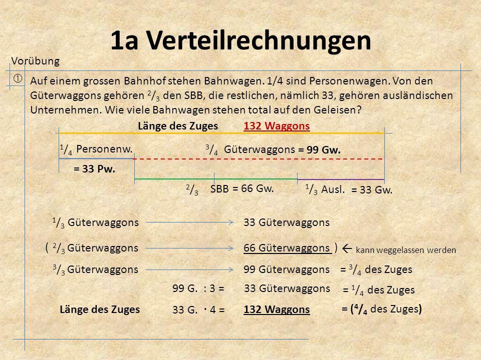 2a Verteilrechnungen  In einer Schule sind bei den Knaben 3 / 5 Schweizer, der Rest Ausländer.