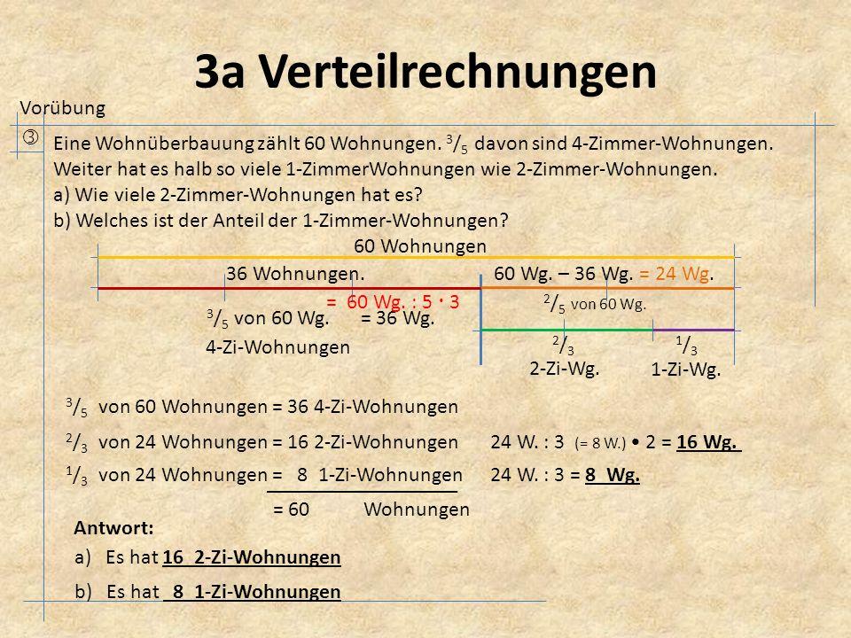 3a Verteilrechnungen  Eine Wohnüberbauung zählt 60 Wohnungen.