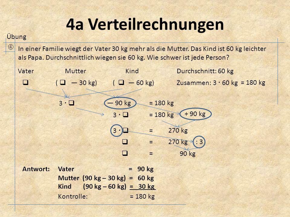 4a Verteilrechnungen  In einer Familie wiegt der Vater 30 kg mehr als die Mutter.