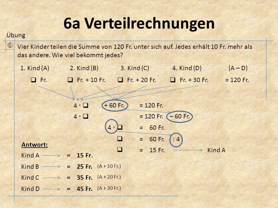 6a Verteilrechnungen  Vier Kinder teilen die Summe von 120 Fr.