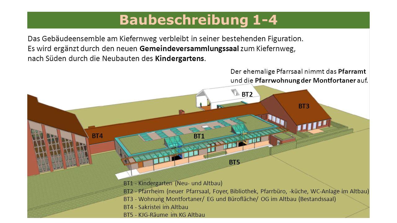 Baubeschreibung 1-4 Das Gebäudeensemble am Kiefernweg verbleibt in seiner bestehenden Figuration.