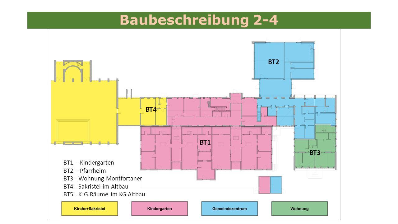 Baubeschreibung 2-4 BT1 – Kindergarten BT2 – Pfarrheim BT3 - Wohnung Montfortaner BT4 - Sakristei im Altbau BT5 - KJG-Räume im KG Altbau BT1 BT2 BT3 BT4
