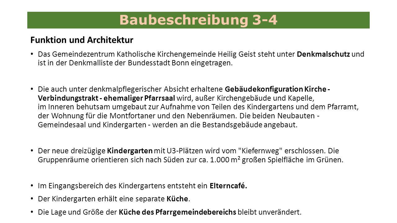 Funktion und Architektur Das Gemeindezentrum Katholische Kirchengemeinde Heilig Geist steht unter Denkmalschutz und ist in der Denkmalliste der Bundesstadt Bonn eingetragen.