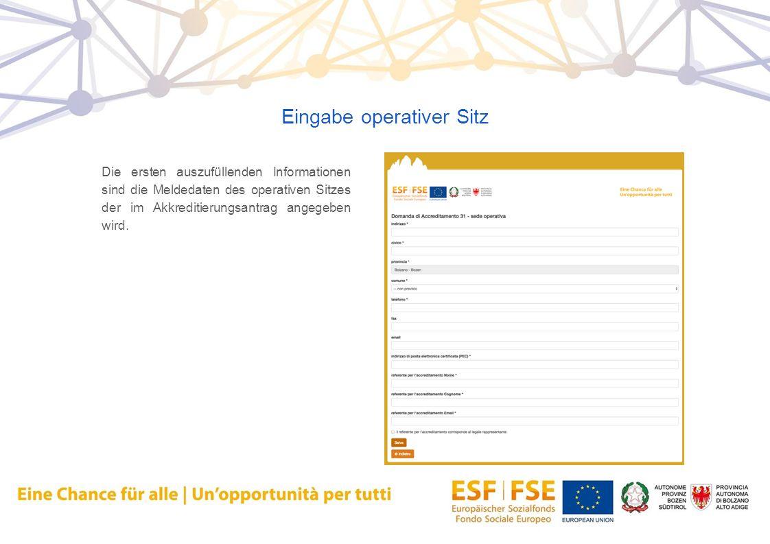 Eingabe operativer Sitz Die ersten auszufüllenden Informationen sind die Meldedaten des operativen Sitzes der im Akkreditierungsantrag angegeben wird.