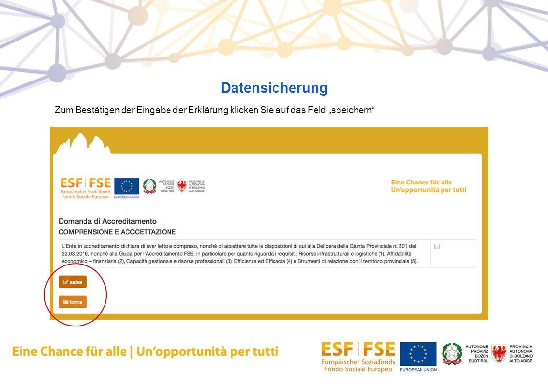 """Datensicherung Zum Bestätigen der Eingabe der Erklärung klicken Sie auf das Feld """"speichern"""