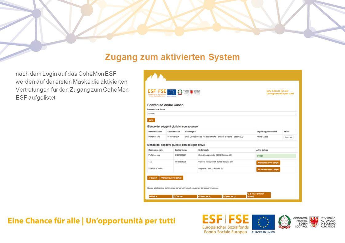 Zugang zum aktivierten System nach dem Login auf das CoheMon ESF werden auf der ersten Maske die aktivierten Vertretungen für den Zugang zum CoheMon E
