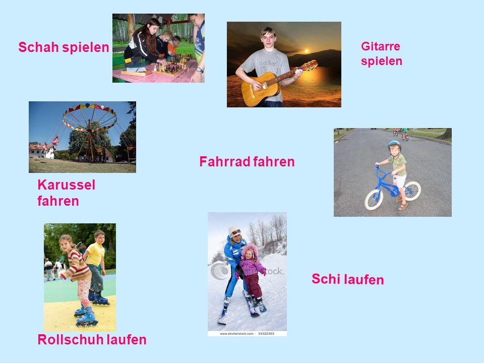 Rollschuh laufen Schah spielen Gitarre spielen Schi laufen Fahrrad fahren Karussel fahren