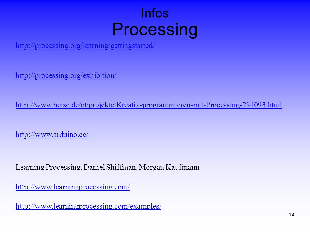 14 Processing Infos Learning Processing, Daniel Shiffman, Morgan Kaufmann
