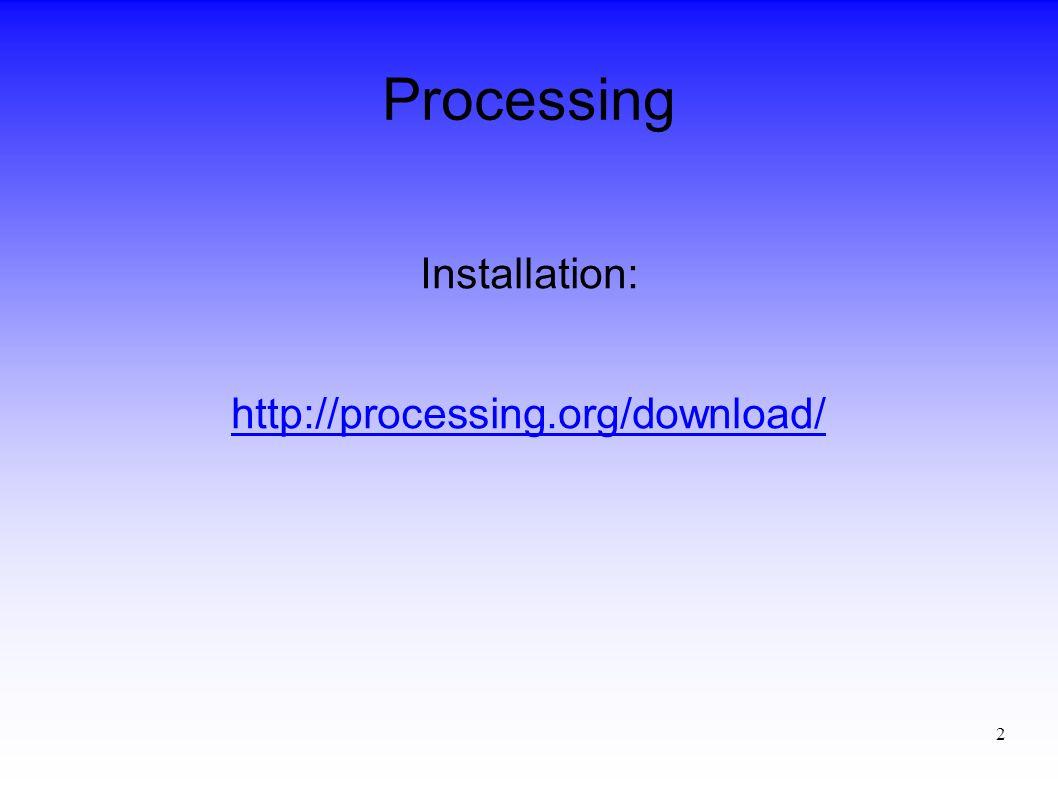 3 Processing Ein Processing-Programm wird Sketch genannt.
