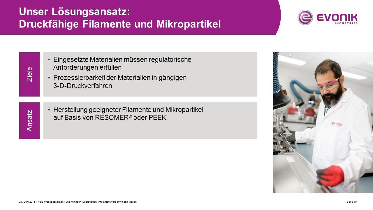 Unser Lösungsansatz: Druckfähige Filamente und Mikropartikel Seite 1021.