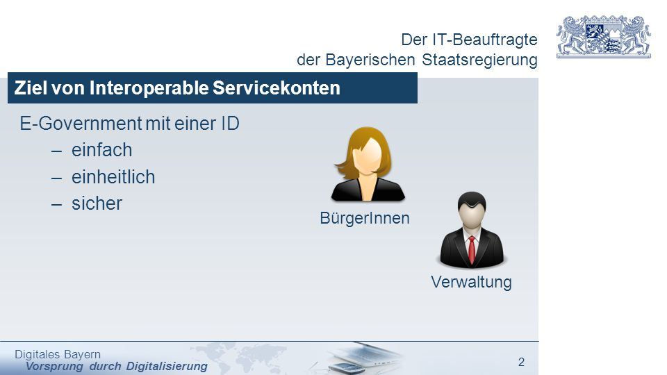 Der IT-Beauftragte der Bayerischen Staatsregierung Digitales Bayern Vorsprung durch Digitalisierung 2 Ziel von Interoperable Servicekonten E-Governmen