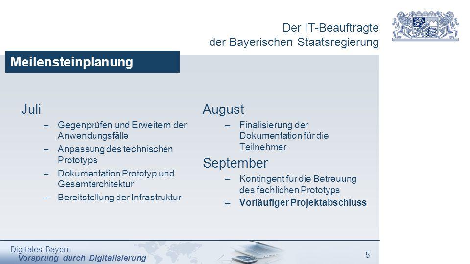 Der IT-Beauftragte der Bayerischen Staatsregierung Digitales Bayern Vorsprung durch Digitalisierung 5 Meilensteinplanung Juli –Gegenprüfen und Erweite