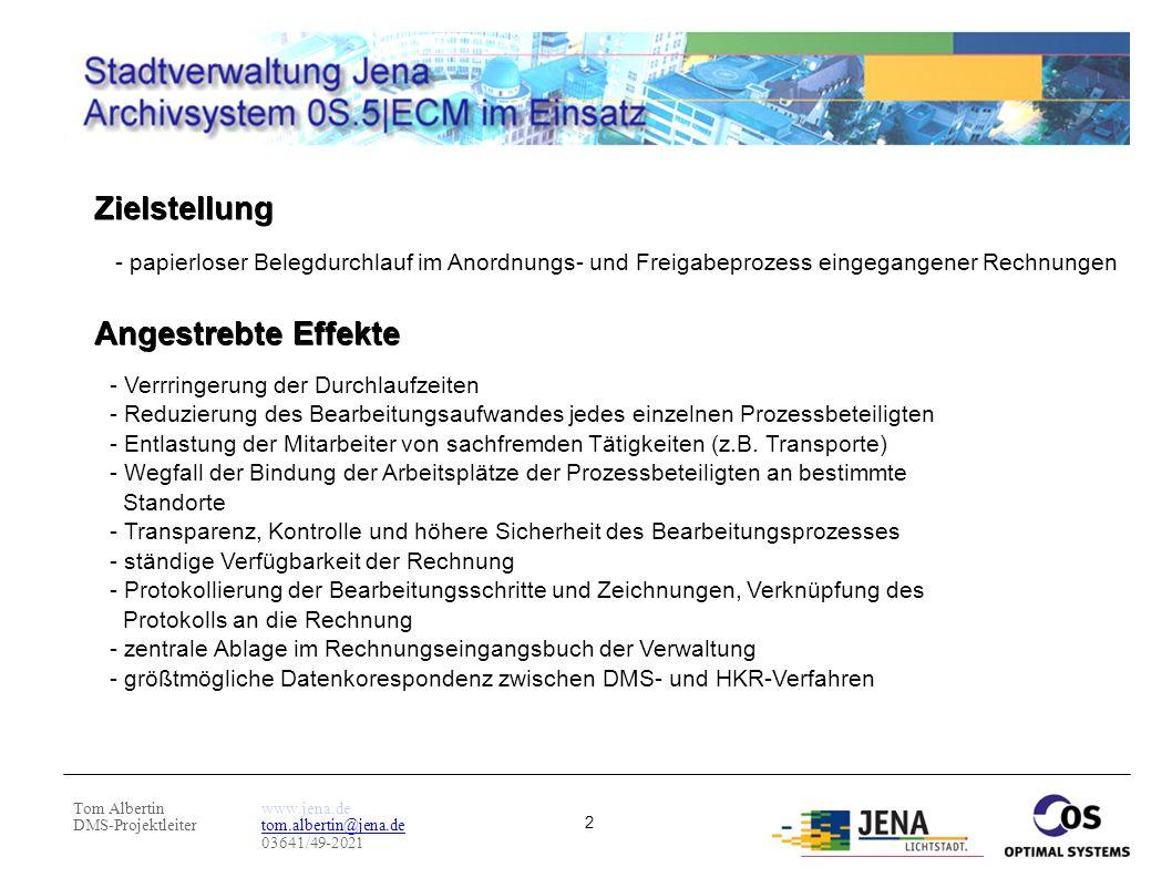 Tom Albertin DMS-Projektleiter www.jena.de tom.albertin@jena.de 03641/49-2021 2 - papierloser Belegdurchlauf im Anordnungs- und Freigabeprozess eingeg