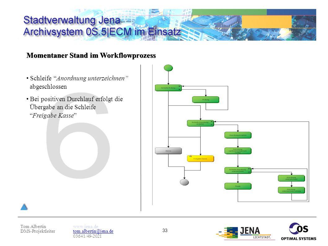 """Tom Albertin DMS-Projektleiter www.jena.de tom.albertin@jena.de 03641/49-2021 33 Momentaner Stand im Workflowprozess Schleife """"Anordnung unterzeichnen"""
