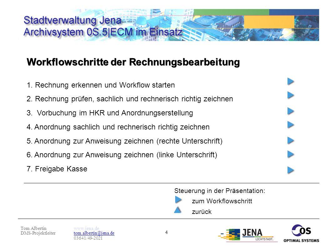 Tom Albertin DMS-Projektleiter www.jena.de tom.albertin@jena.de 03641/49-2021 4 Workflowschritte der Rechnungsbearbeitung 1. Rechnung erkennen und Wor