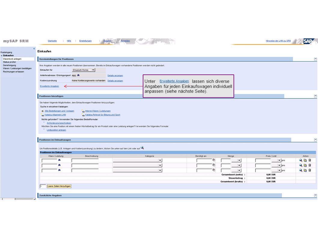 Unter lassen sich diverse Angaben für jeden Einkaufswagen individuell anpassen (siehe nächste Seite).