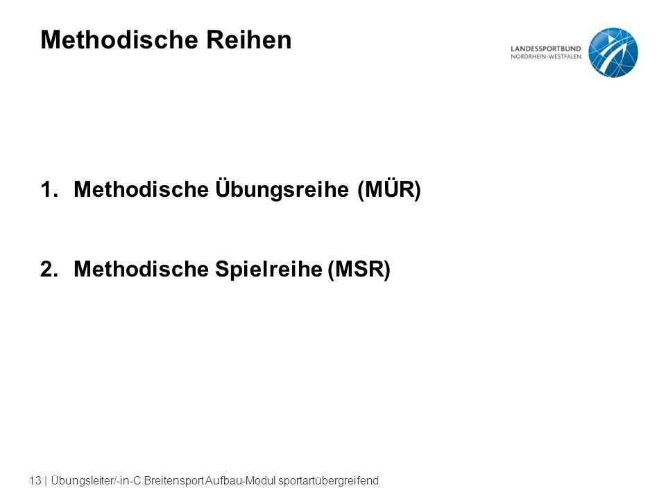 13 | Übungsleiter/-in-C Breitensport Aufbau-Modul sportartübergreifend Methodische Reihen 1.Methodische Übungsreihe (MÜR) 2.Methodische Spielreihe (MSR)