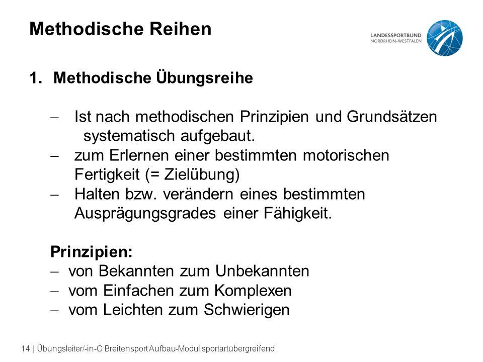 14 | Übungsleiter/-in-C Breitensport Aufbau-Modul sportartübergreifend Methodische Reihen 1.Methodische Übungsreihe  Ist nach methodischen Prinzipien und Grundsätzen systematisch aufgebaut.