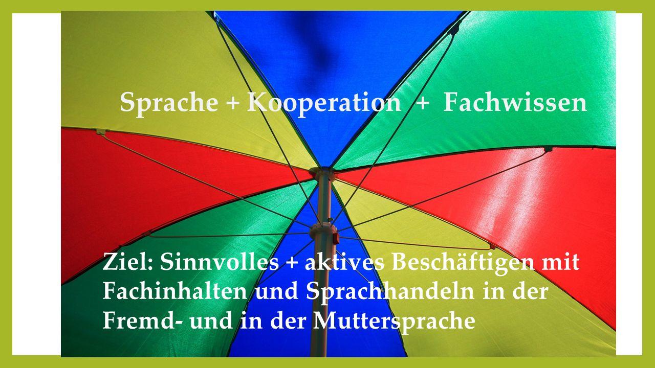 Sprache + Kooperation + Fachwissen Ziel: Sinnvolles + aktives Beschäftigen mit Fachinhalten und Sprachhandeln in der Fremd- und in der Muttersprache