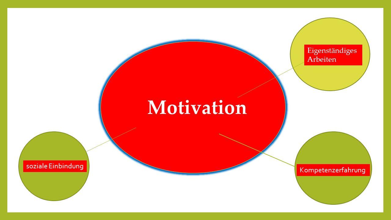 Motivation soziale Einbindung Kompetenzerfahrung Eigenständiges Arbeiten