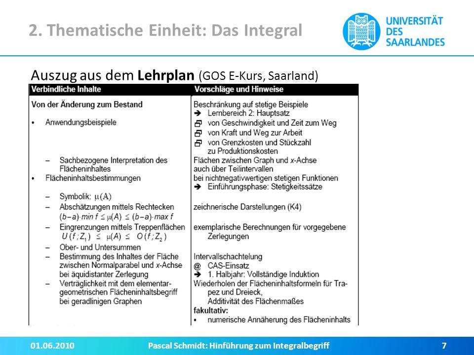 2. Thematische Einheit: Das Integral Auszug aus dem Lehrplan (GOS E-Kurs, Saarland) 01.06.2010Pascal Schmidt: Hinführung zum Integralbegriff7