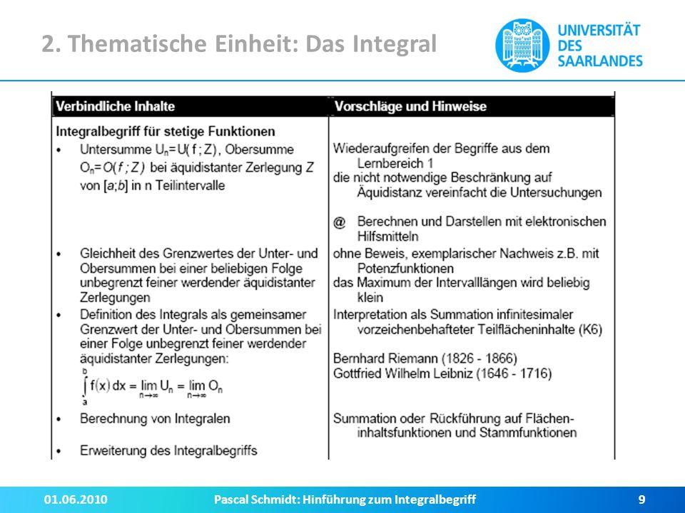 2. Thematische Einheit: Das Integral 01.06.2010Pascal Schmidt: Hinführung zum Integralbegriff10