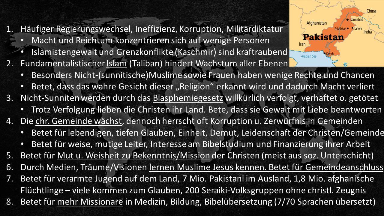 1.Häufiger Regierungswechsel, Ineffizienz, Korruption, Militärdiktatur Macht und Reichtum konzentrieren sich auf wenige Personen Islamistengewalt und