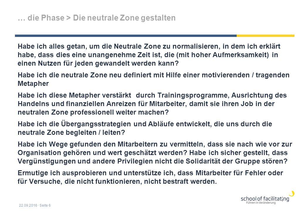 … die Phase > Die neutrale Zone gestalten Habe ich alles getan, um die Neutrale Zone zu normalisieren, in dem ich erklärt habe, dass dies eine unangenehme Zeit ist, die (mit hoher Aufmerksamkeit) in einen Nutzen für jeden gewandelt werden kann.