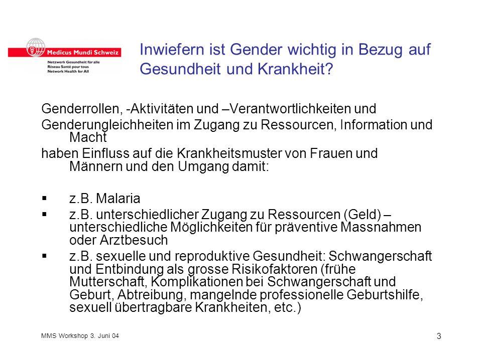 MMS Workshop 3. Juni 04 3 Inwiefern ist Gender wichtig in Bezug auf Gesundheit und Krankheit.