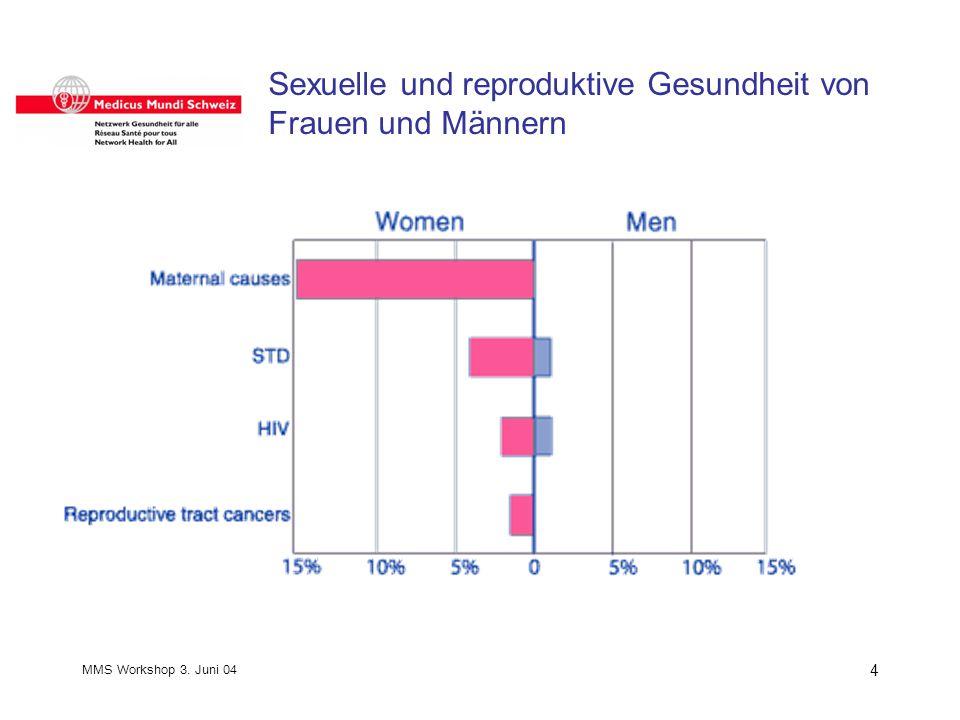 MMS Workshop 3. Juni 04 4 Sexuelle und reproduktive Gesundheit von Frauen und Männern