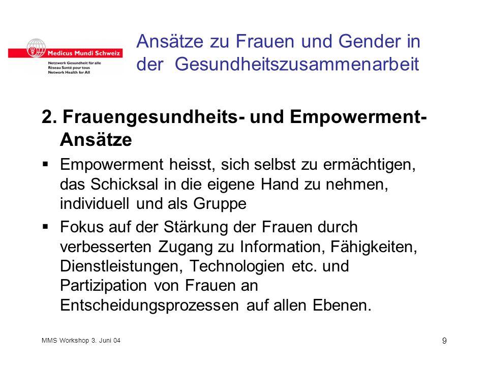 MMS Workshop 3. Juni 04 9 Ansätze zu Frauen und Gender in der Gesundheitszusammenarbeit 2.